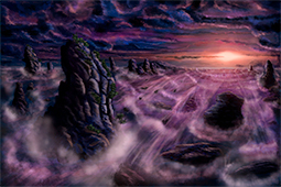 Sunset at Monoliths' Beach - digital art, digital painting, painting, ars caelestialis